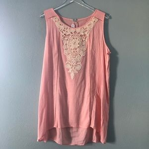 Boutique | soft pink tunic with white embroidery